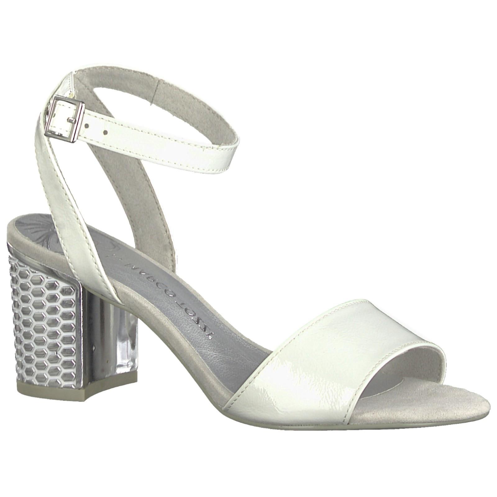 Marco Tozzi női bokapántos szandál 28313 22 100 fehér, ezüst