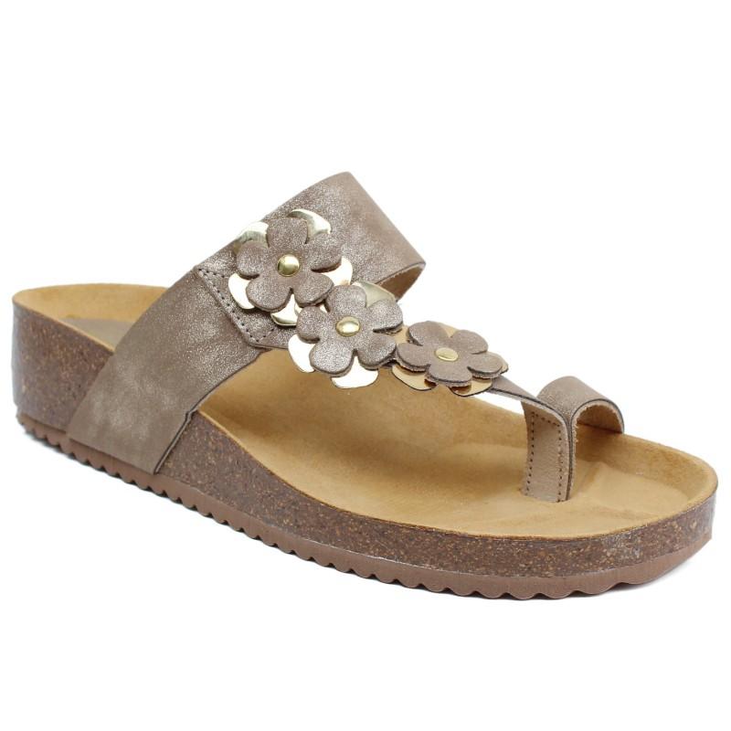 Bio UP női lábujjközös papucs 035-130S bézs metál 05139
