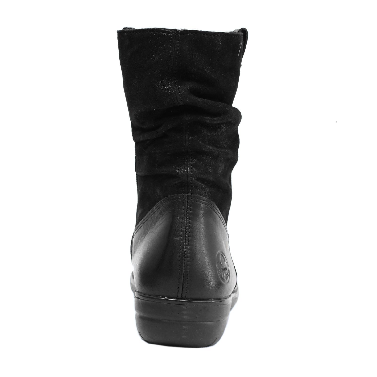 Rieker női rövid szárú csizma X0681 00 Cristallino fekete