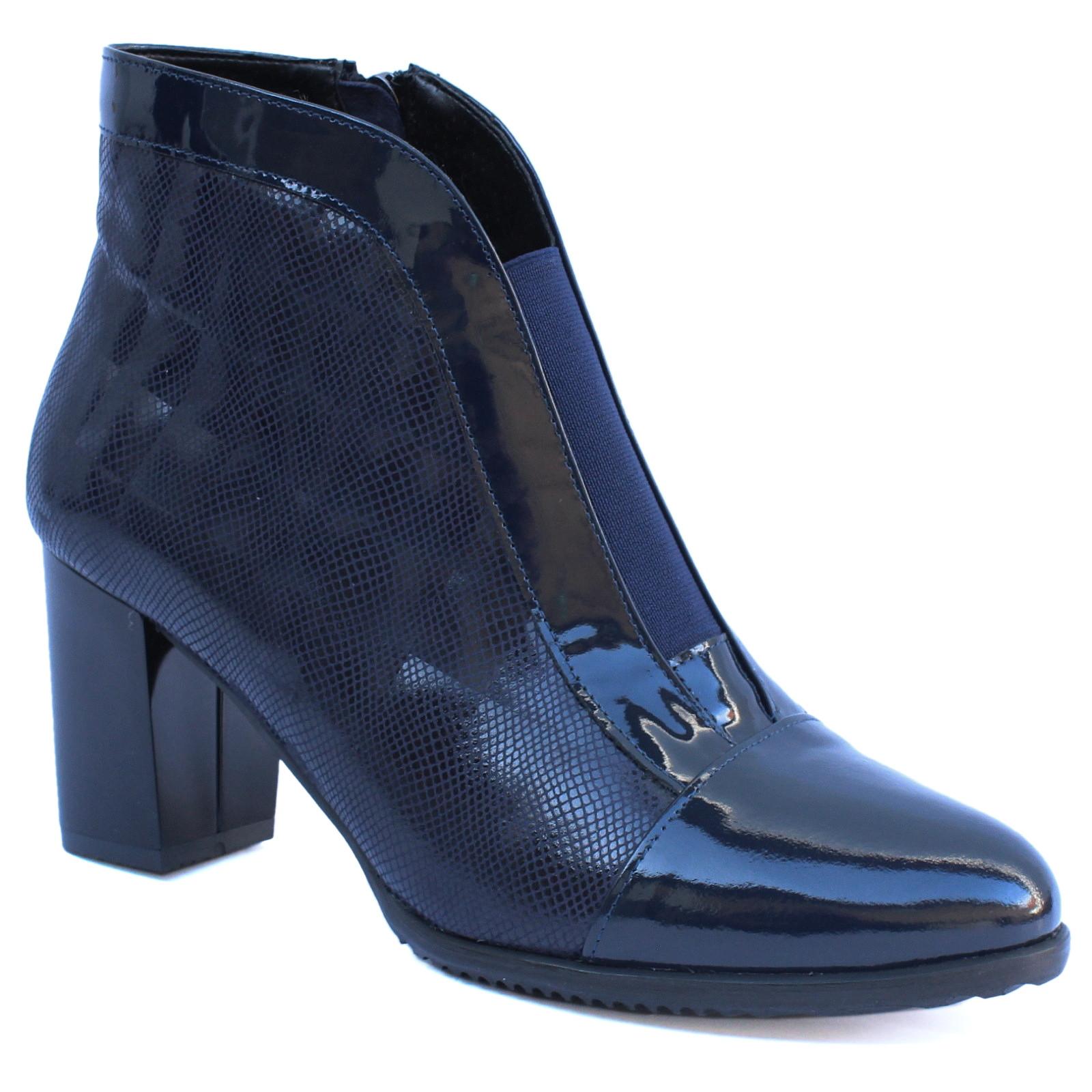 Janta női cipzáras bokacipő 18309 A kék lakk 05375 Női